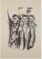 Käthe Kollwitz, Manifestation d'ouvriers, s.d. (1930-1931), lithographie, 55x37 cm, Moscou, Musée Pouchkine